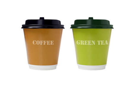 take away: Coffee and Green Tea in Paper Cups on White Background Stock Photo