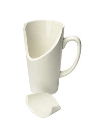 Broken Ceremic Mug on White Background Stock Photo