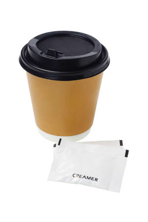 creamer: Coffee in Paper Cup and sachets of creamer on White Background
