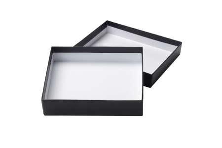 colour box: Open Square Shape Black Gift Box on White Background