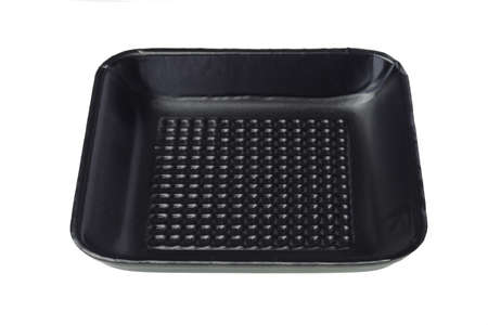 styrofoam: Disposable Black Styrofoam Food Tray on White Background Stock Photo