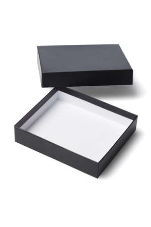 gift packs: Open Black Gift Box on White Background