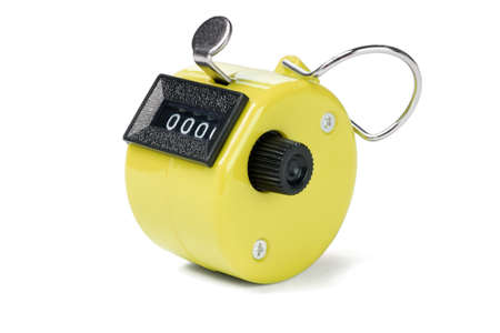 Yellow Hand Held Tally Counter on White Background photo
