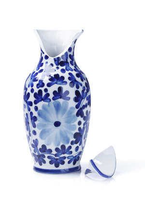 Broken Chinese Ceramic Vase On White Background photo