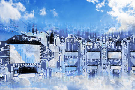 circuitry: Circuit Board Superimposed on Cloudy Sky- Conceptual Image of Cloud Computing  Stock Photo