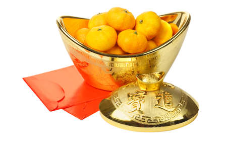 Chinese New Year Mandarin Oranges in Gold Ingot Container and Red Packets on White Background