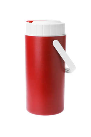 insulated drink container: Red Plastic flask with Handle on White Background