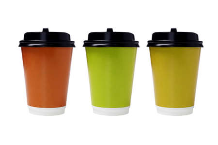 Color Disposable Paper Cups with Lids on White Background photo