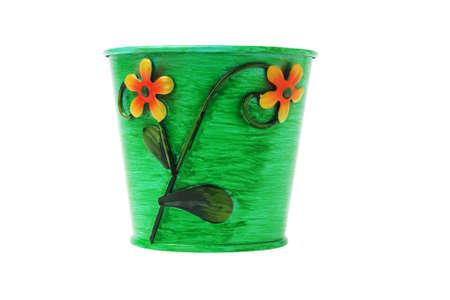 decoratiion: Decorative Metal Flower Pot on White Background Stock Photo