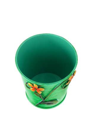 Empty Metal Flower pot on White Background Stock Photo - 15142366