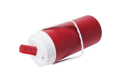 insulated: Red Plastic Flask Lying on White Background
