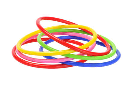 Multicolor Plastic Bangles on White Background  photo