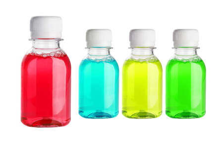 Multicolor Mouth Wash in Plastic Bottles on White Background Stock Photo - 15552736