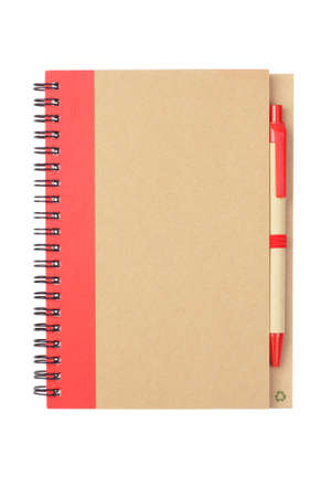 ballpoints: Note book and Pen Made From Recycled Materials on White Background