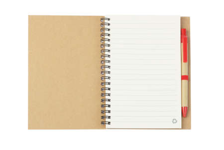 Notebook and Ballpoint Pen Made from Recycled Paper on White Background photo