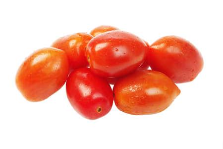 Plum Tomatoes on White Background 免版税图像