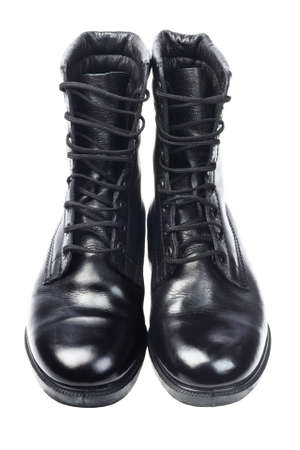 combat boots: Shinning Black Leather Boots on White Background