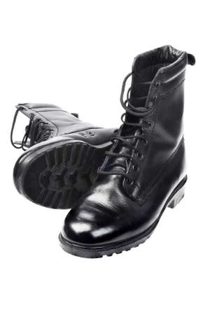 combat boots: Black Leather Boots on White Background Stock Photo