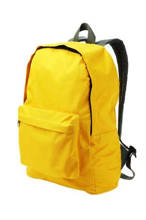 school backpack: Permanente Mochila amarilla sobre fondo blanco Foto de archivo