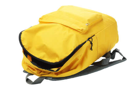 haversack: Open Yellow Backpack Lying on White Background