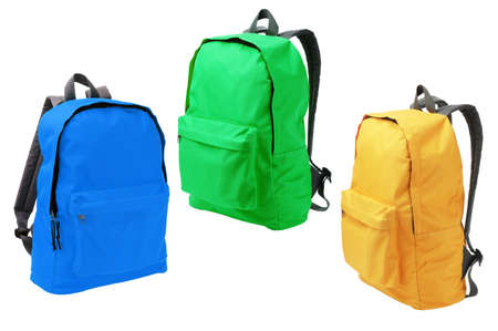 haversack: Three Colorful Backpacks Standing on White Background Stock Photo