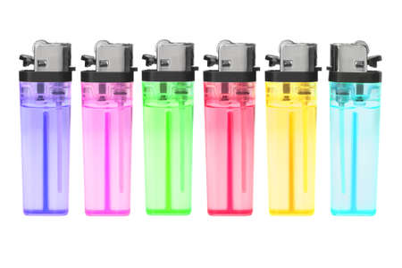 gas lighter: Row of Disposable Plastic Gas Lighters on White Background