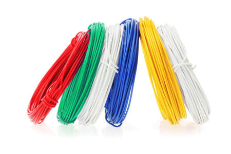 Coils of Color Wires Standing in a Row on White Background Stock Photo - 16468337