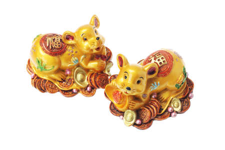 Chinese Golden Rat With Gold Coins and Ingots on White Background Stock Photo - 17072867