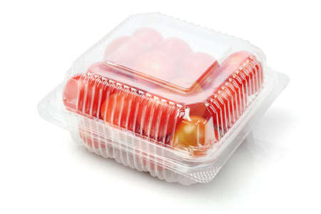 Plum Tomatoes in Plastic Container on White Background