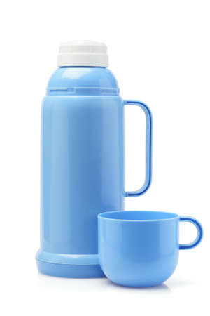 insulated drink container: Blue Plastic Flask And Cup On White Background