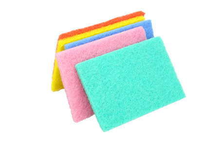 scouring: Colorful Kitchen Scouring Pads on White Background Stock Photo