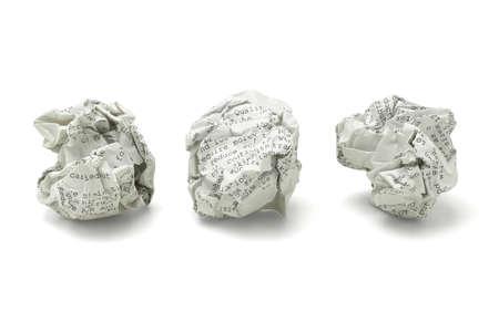 wastepaper: Three Waste Paper Balls on White Background Stock Photo