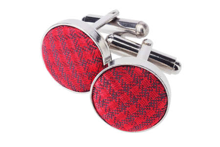 cuff links: Pair Of Cuff Links On White Background Stock Photo