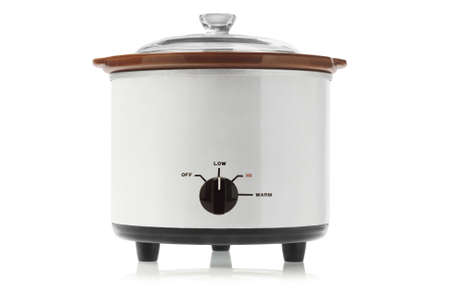crock: Electric Slow Cooker On White Background