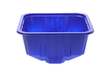 Blue Empty Plastic Container On White Background photo