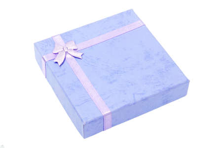 Blue Gift Box with Bow Ribbon On White Background photo