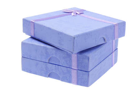Stack Of Blue Gift Boxes On White Background photo