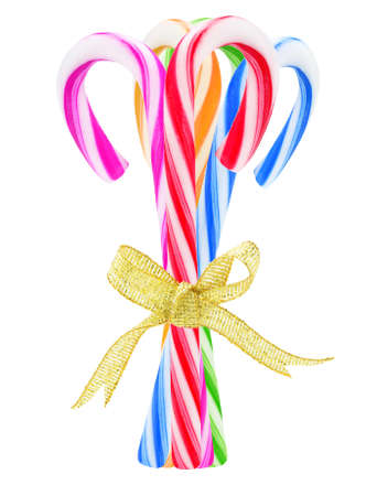 Bundle Of Colorful Candy Canes On White Background photo