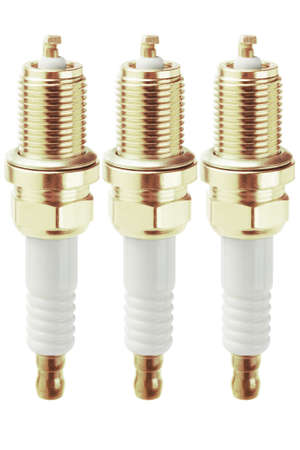 Three Spark Plugs On White Background Stock Photo - 21539645