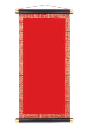 chinese new year: Chinese Festive Scroll with Copy Space On White Background