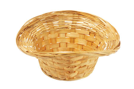interleaved: Empty Wicker Basket On White Background Stock Photo
