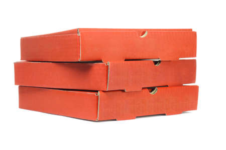 food distribution: Stack of Pizza Delivery Boxes On White Background