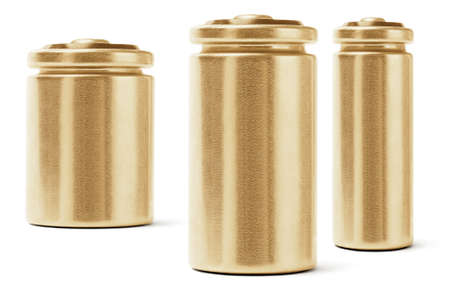 Three Gold Color Batteries On White Background photo