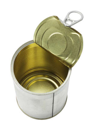 tin: Open Empty Tin Can On White Background Stock Photo