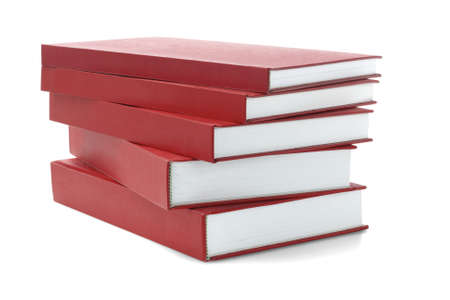 pile of books: Stack Of Red hard Cover Books On White Background Stock Photo