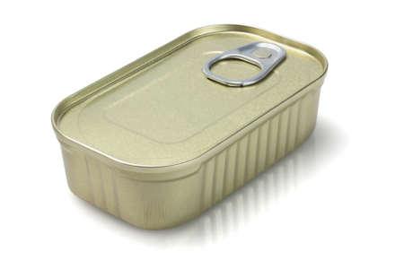 sealed: Sealed Tin Can On White Background