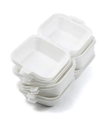 styrofoam: Stack of Open Styrofoam Boxes on White Background Stock Photo