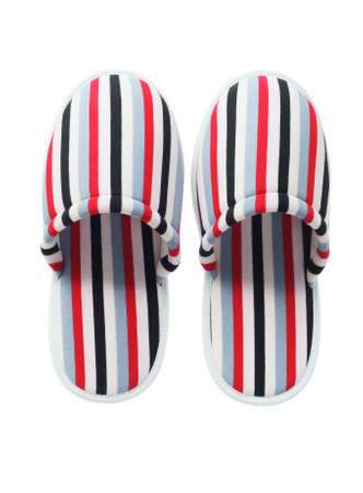 slipper: Pair Of Colorful Striped Home Slippers On White Background