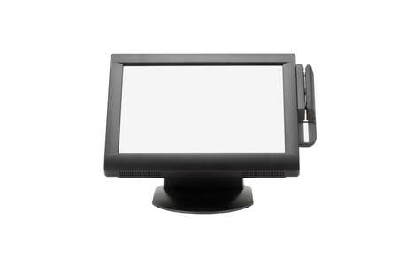 Wide Screen Point Of Sale System On White Background Stock Photo