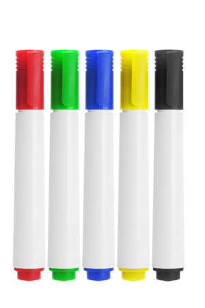 Row Of Marker Pens On White Background photo